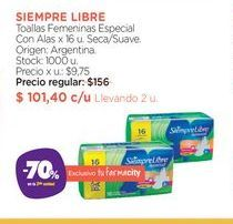 Oferta de Toallas Femeninas Especial Con Alas x 16 u. por $101,4