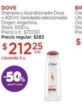 Oferta de DOVEShampoo y Acondicionador Dove x 400 ml. por $212,25