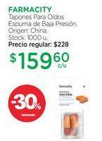 Oferta de FARMACITYTapones Para Oídos Espuma de Baja Presión. por $159,6