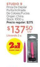 Oferta de STUDIO 9Pinza De Depilar Punta Inclinada. por $137,5