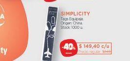 Oferta de SIMPLICITYTags Equipaje. por $149,4