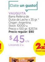Oferta de VAUQUITABarra Rellena de Dulce de Leche x 35 gr. por $45