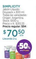 Oferta de SIMPLICITYJabón LÍquido Doypack x 300 ml. por $70,5