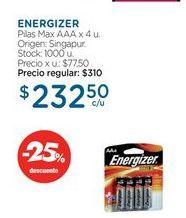 Oferta de ENERGIZERPilas Max AAA x 4 u. por $232,5