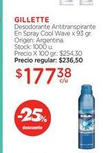 Oferta de GILLETTE	Desodorante Antitranspirante En Spray Cool Wave x 93 gr. por $177,38