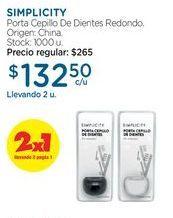 Oferta de SIMPLICITYPorta Cepillo De Dientes Redondo. por $132,5