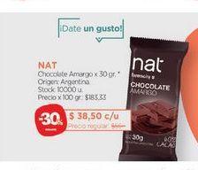 Oferta de NATChocolate Amargo x 30 gr. por $38,5