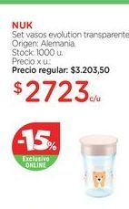 Oferta de NUK	Set vasos evolution transparente. por $2723