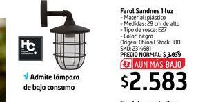 Oferta de Farol Sandnes 1 luz  por $2583