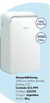 Oferta de Aire acondicionado Surrey 3500ww  por $43999