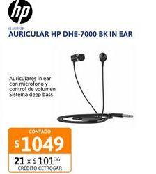 Oferta de Auricular HP DHE-7000 BK In Ear c/microf por $1049