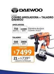 Oferta de Combo Amolad+Taladro Daewoo 750W+550W por $7499