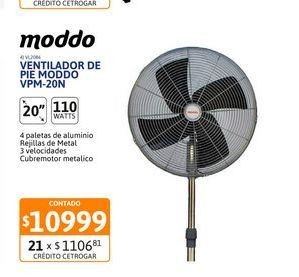 "Oferta de Vent de Pie 20"" Moddo Metalico VPM-20N por $10999"