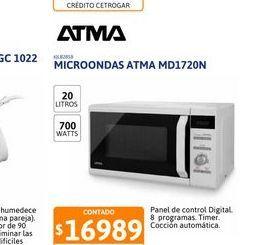 Oferta de Microond Atma 20 Lts Digital MD1720N por $16989