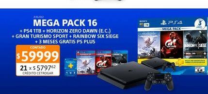Oferta de PS4 Sony Mega Pack 16+ DS + 3 Juegos por $59999