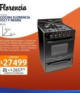 Oferta de Cocina Florencia 5517 F Negra c/ val 56cm por $27499
