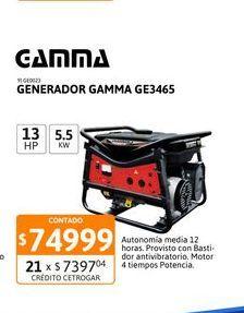 Oferta de Generador Gamma 5500V GE3465 13hp 5,5 kw por $74999