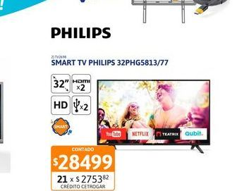 Oferta de Smart tv led 32'' PhilipsTv Led 32 Philips 32PHG5813/77 HD Smart por $28499
