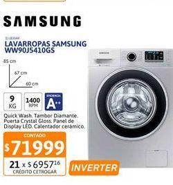 Oferta de Lavarr Samsung WW90J5410GS 9Kg CF 1400rpm Pl por $71999