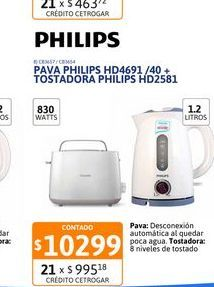 Oferta de Pava Elect Philips HD4691/40+Tostadora Philips HD4691 por $10299