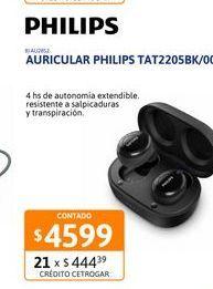Oferta de Auricular Philips TAT2205BK/00 bluetooth por $4599