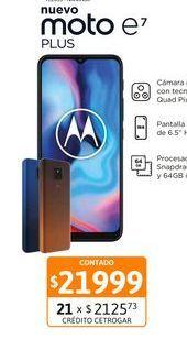 """Oferta de Cel Lib Moto E7 Plus 6,5"""" 4/64 48MP Azul por $21999"""