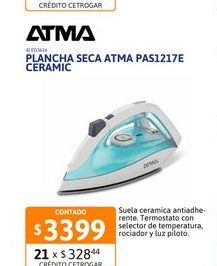 Oferta de Plancha Atma PAS1217E Seca suela Ceramic por $3399