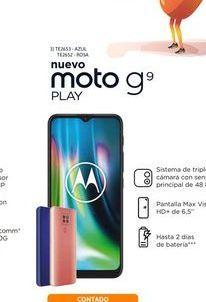 """Oferta de Cel Lib Moto G9 Play 6,5"""" 4/64 48MP Azul por $26499"""