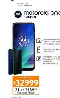 """Oferta de Cel Lib Moto One Fusion 6,5"""" 4/128 Azul por $32999"""