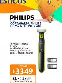Oferta de Cortabarba Philips QP2521/10 OneBlade por $3349