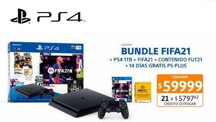 Oferta de PS4 Sony Slim 1TB + DS + FIFA 2021 por $59999