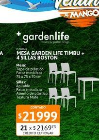 Oferta de MesaGardenLifeTimbu75x75Bca+4 sillasBost por $21999