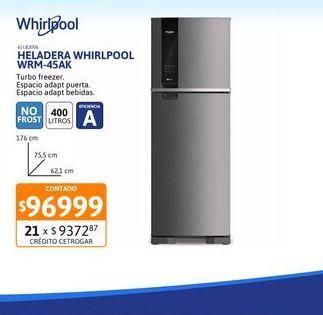 Oferta de Helad NF Whirlpool 400Ls WRM-45AK Inox por $96999