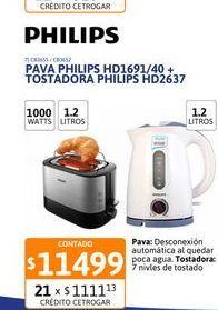 Oferta de Pava Elect Philips HD4691/20+Tostadora HD2637 por $11499