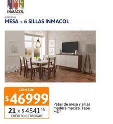 Oferta de Mesa 150x080+6Sill Inmacol Cast/Bco140/2 por $46999