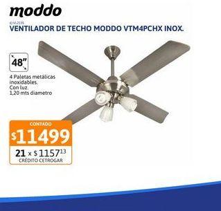 Oferta de Vent Techo moddo 4P CH Luz VTM4PCHX Inox por $11499