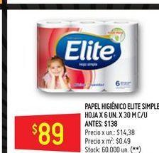 Oferta de Papel higiénico  6un  por $89