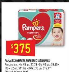 Oferta de Pañales Pampers supersec ultrapack  por $375