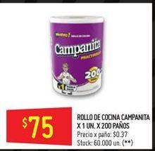 Oferta de Rollo de cocina CAMPANITA  200paños por $75