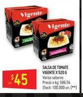 Oferta de Salsa de tomate Vicente 520gr  por $45