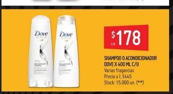 Oferta de Shampoo o acondicioandor  Dove 400ml  por $178
