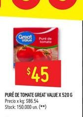 Oferta de Puré de tomate Great Value 520g por $45