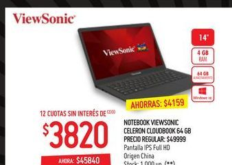 Oferta de Notebook View Sonic 64gb  por $45840
