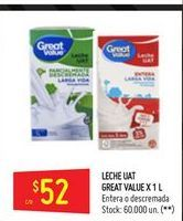 Oferta de Leche entera o descremada GREAT VALUE 1lt  por $52