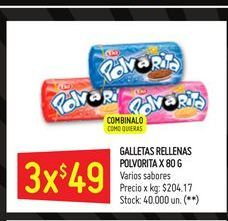 Oferta de Galletitas rellenas Polvorita 80g por $49