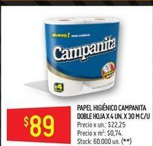 Oferta de Papel higiénico Campanita 4x30 por $89