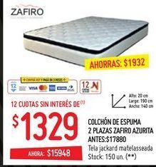 Oferta de Colchón de espuma 2 plazas  por $1329