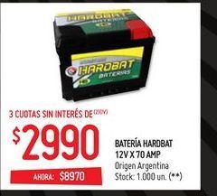 Oferta de Batería hardbat 12v x 70 amp por $8970