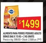 Oferta de Alimento para perros Pedigree 15kg  por $1499