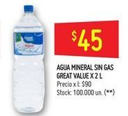 Oferta de Agua mineral sin gas  por $45